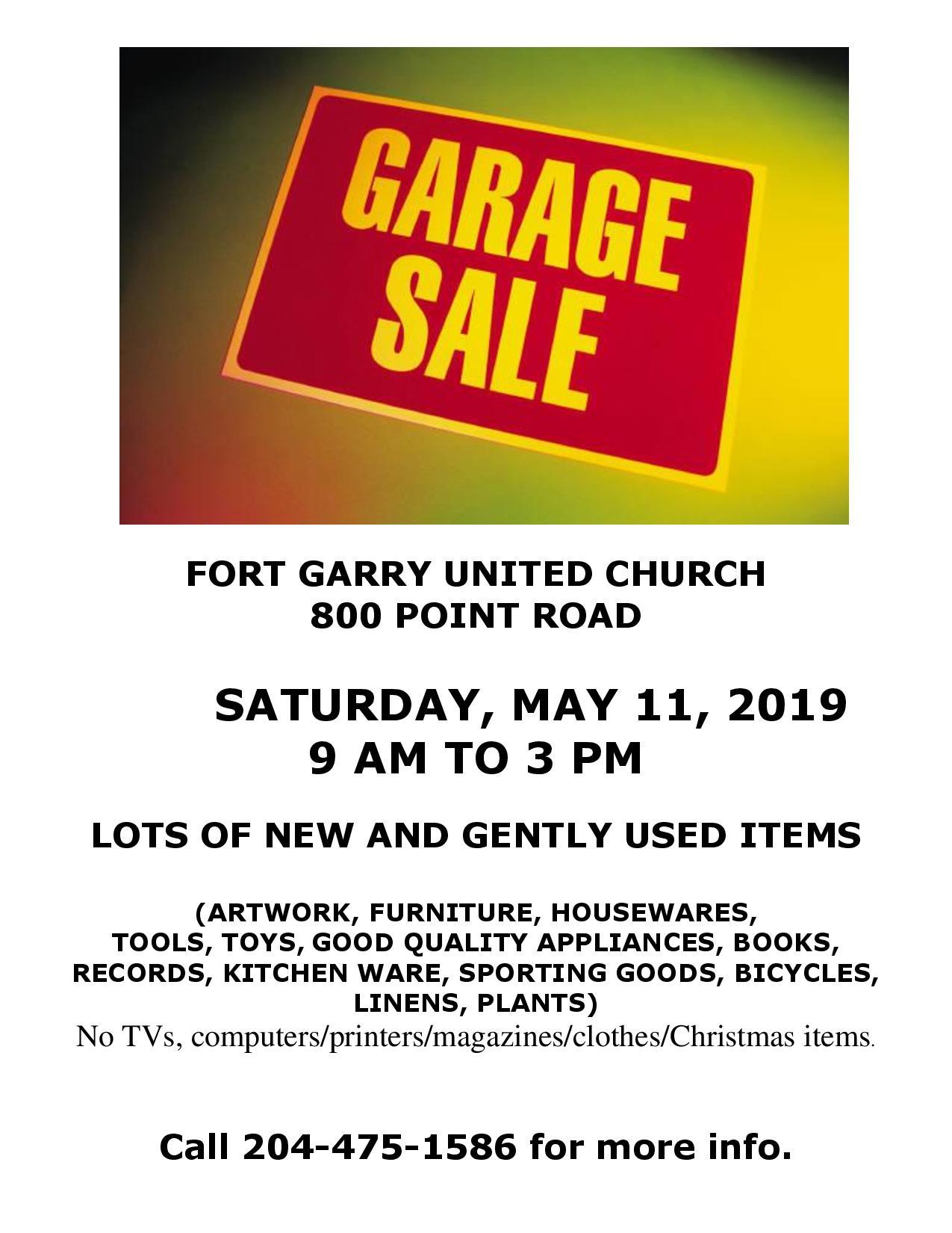 Fort Garry United Church - Garage Sale - Active Aging in Manitoba